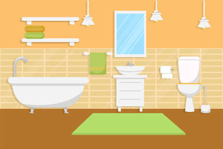 Bathroom interior with furniture in flat style stock Vector illustration. Bright, colorful composition with furniture, decorations. . Vector illustration Vettoriali