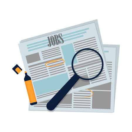 Newspaper for hiring, employment with magnifier and marker isolated on white background stock vector illustration. Social issues concept. Vector illustration Vettoriali
