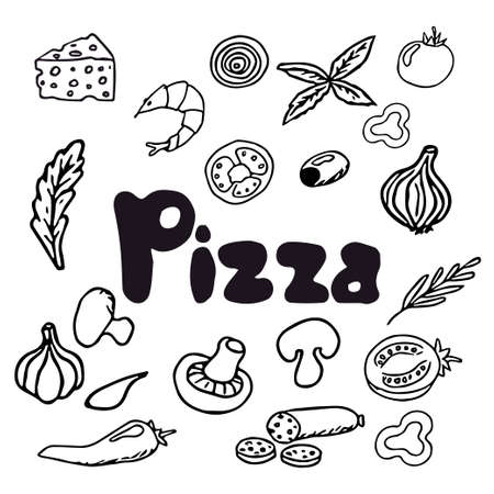 Italian pizza and ingredients. Italian food menu design template. Pizzeria menu design template. Vintage hand drawn sketch vector illustration. Engraved image. Vector illustration