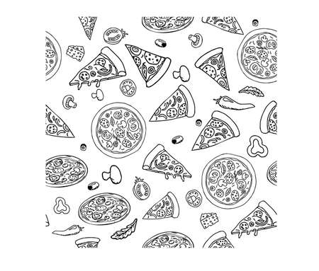 Pizza in different design seamless pattern hand drawn sketch. Doodles Food background stock vector illustration. . Vector illustration
