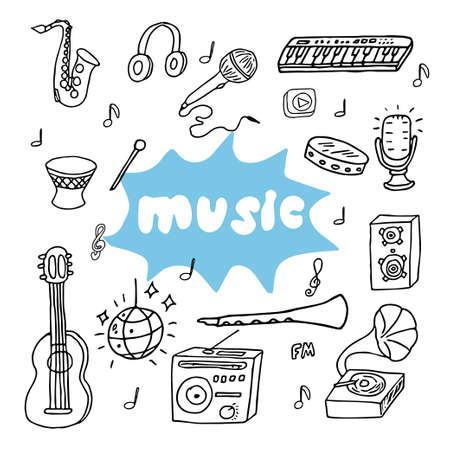 Hand drawn doodle music instruments and elements, contour objects isolated on white background stock vector illustration. Vector illustration Vettoriali