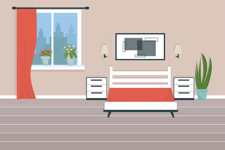 Modern, stylish bedroom interior of house or hotel stock vector illustration with bed, window, nightstand, picture. . Vector illustration Vettoriali