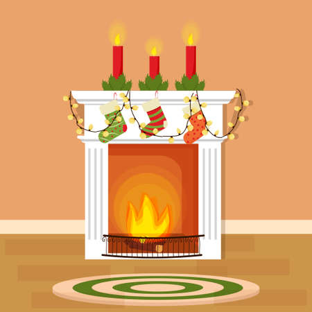 Christmas fireplace, decorative element, with socks for presents, candles. Bright, colorful and editable object stock vector illustration. Vector illustration