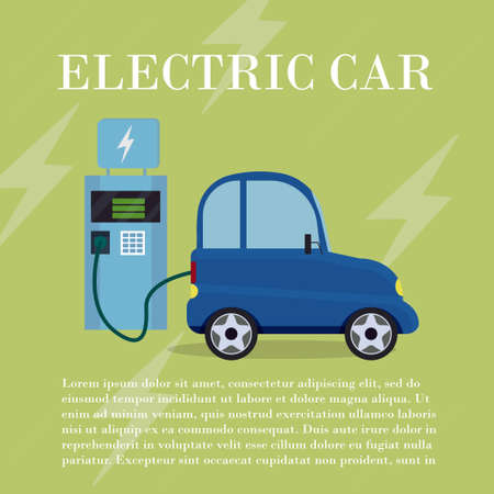 Electric car flat infographic concept stock vector illustration. Electric car on charging station. Ecology, innovation concept. Vector illustration