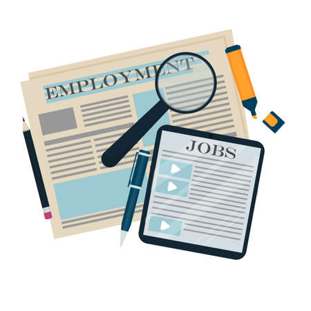Newspaper, magnifier and tablet with text employment and Jobs, career, job hunt concept in flat style isolated on white background