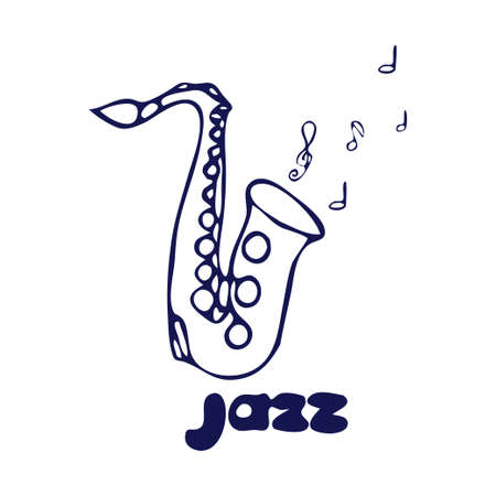 Saxophone doodle hand drawn illustration with text jazz isolated on white background.