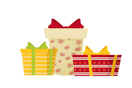 Composition from presents, editable and isolated on white background stock vector illustration.