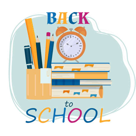 Bright composition Back to school, books, alarm and stationery isolated, stock vector illustration.