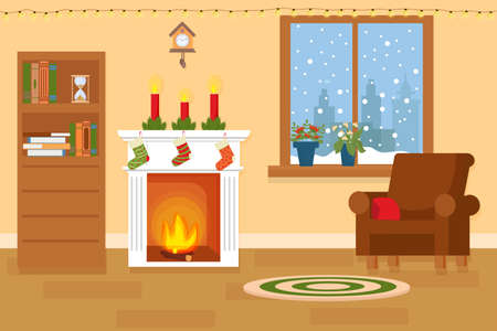 Interior of living room with Christmas decorations, fireplace with socks and candles, window with snowflakes, old clock and bookshelf.