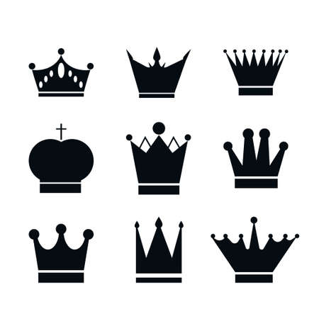 Set, collection of black crowns isolated on white background. Icon, design element or stencil stock vector illustration. Ilustración de vector