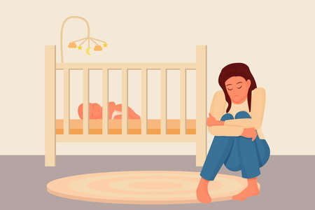 Postpartum depression concept in flat style. Tired, sad mother, woman sitting on floor near bad with sleeping baby. Psychology problem, parent difficulty. Vector illustration Illusztráció