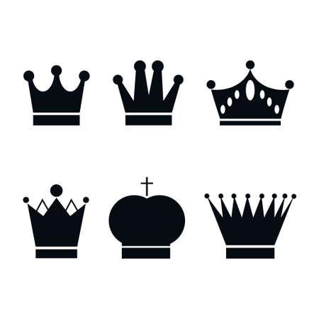 Set, collection of black crowns isolated on white background. Vektorgrafik