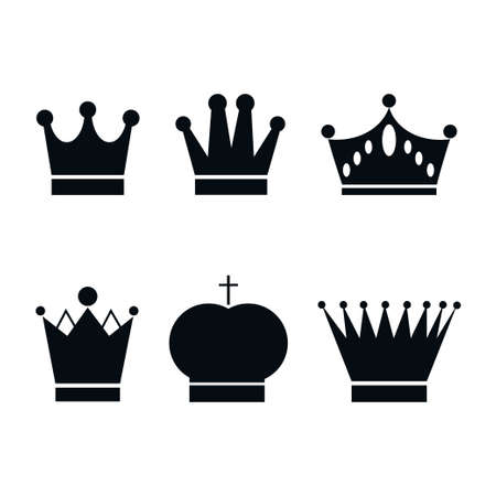 Set, collection of black crowns isolated on white background. Vector Illustration