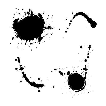Set of black splash isolated on white background. Grunge ink blots and drops. High quality manually traced vector illustration