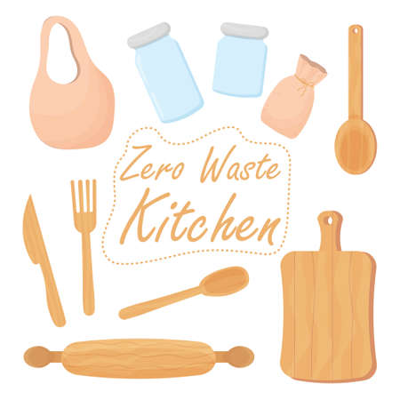 Set kitchen zero waste objects isolated on white background. Eco friendly, reusable elements from glass, wooden, bamboo. Vector illustration
