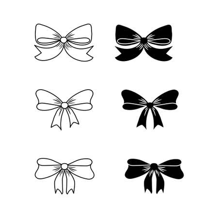 Set various outline and contour bows, design elements isolated on white background. Object for celebration, decoration. . Vector illustration