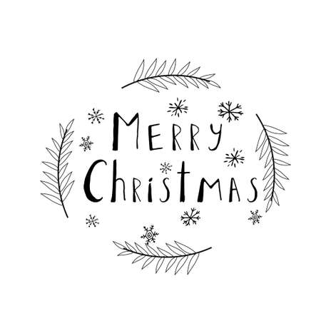 Text Merry Christmas with decorations black composition isolated on white background. Celebration, greeting decoration. Vector illustration