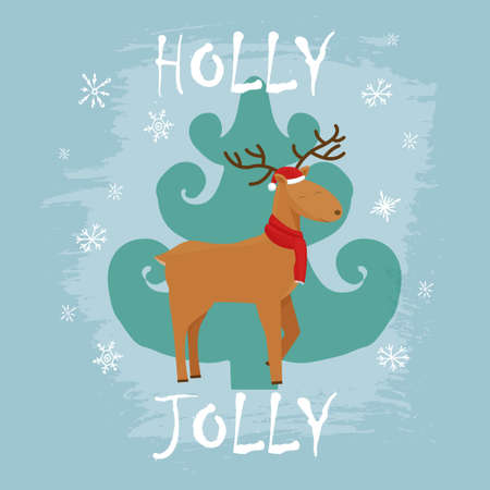 Christmas greeting card with pine tree, character deer, textured in cartoon style. . Vector illustration