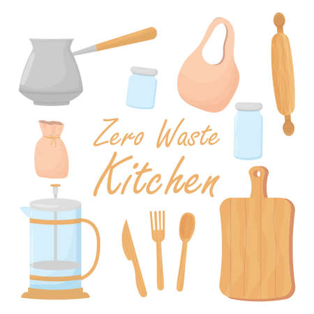 Kitchen zero waste set, collection of ecological elements isolated on white background. Reusable material, eco-friendly concept. Vector illustration