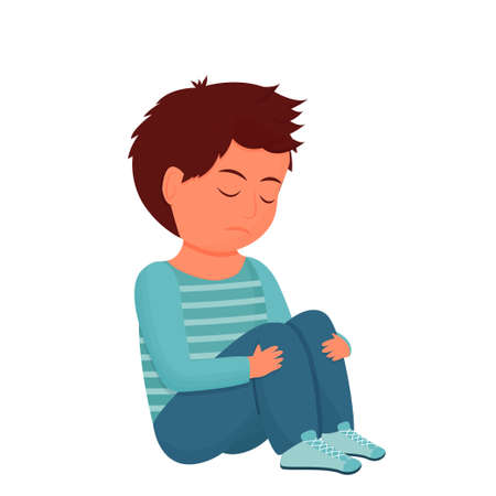 Sad, depressed child, kid sitting alone. Emotional pose, face. Psychology problem, stress concept isolated on white background. Vector illustration