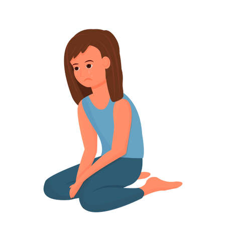 Depressed child, girl sitting alone, upset pose and face emotions isolated on white background. Unhappy, suffer person. Vector illustration