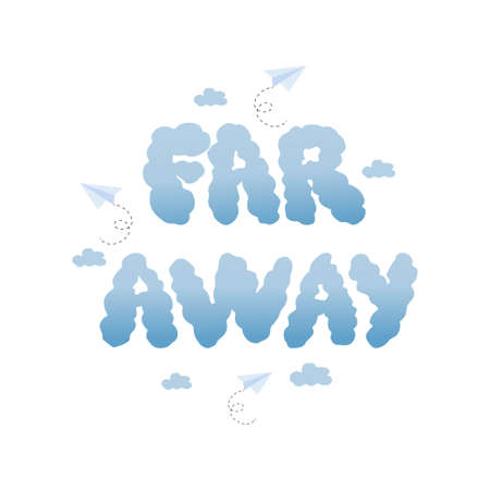 Text Far Away hand drawn, cloud shape in simple doodle style isolated on white background. Vector illustration