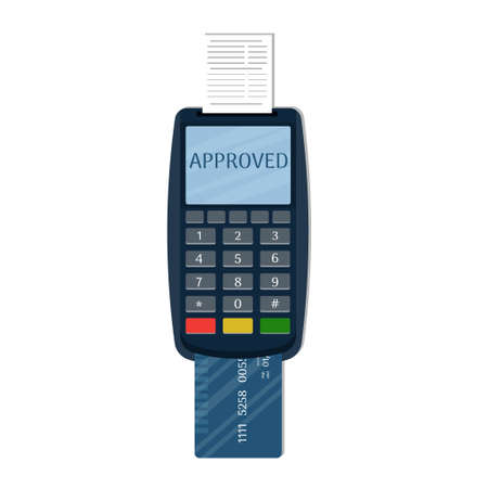Payment terminal with paper check and plastic bank card. POS terminal for payment. Card reader machine. Isolated on background. Vector illustration
