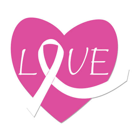 Heart shape with ribbon cancer symbol text Love isolated on white background. Awareness, cancer support. Vector illustration Vektoros illusztráció