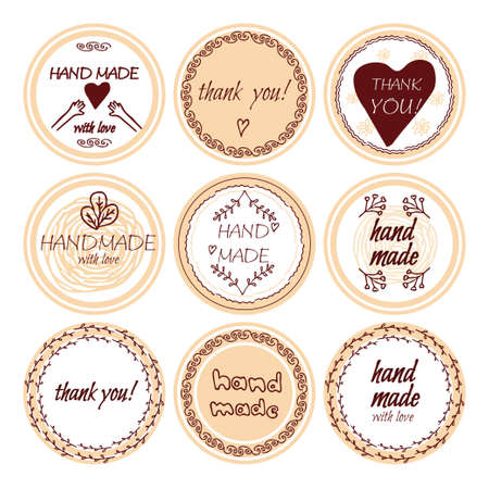 Set of round stickers, badges with text Hand made, thank you, with doodle elements isolated on white background. Collection of different design for shop, seller.
