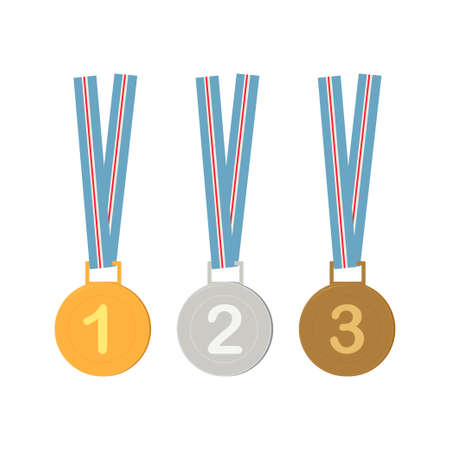 Gold, Silver, Bronze Medals Set Metal Badge With First, Second, Third Placement Achievement. Round Label With Red Ribbon. Winner Prize. Competition Game Golden, Silver, Bronze Trophy. Vector illustration