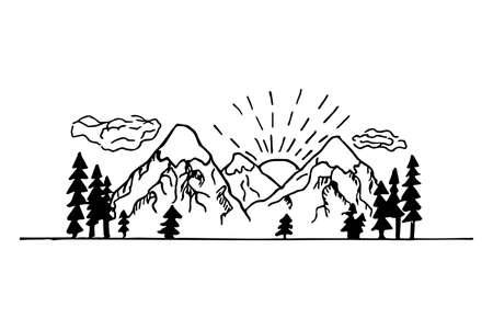 Hand drawn lineart contour mountain landscape, nature scenery. White and black design. Modern composition, travel concept. Vector illustration Vettoriali