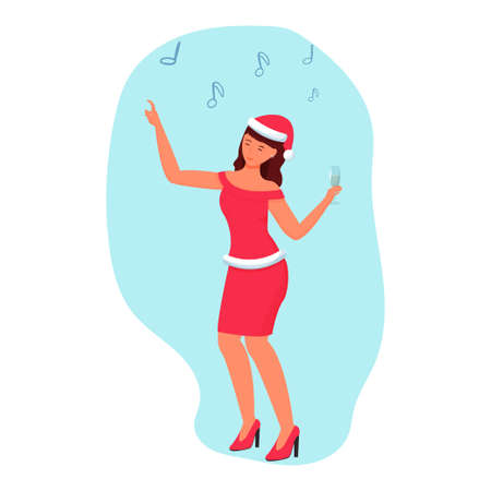 Happy woman dancing in costume of santa Claus with cocktail isolated Illustration, holiday mood, new year party. Vector illustration 向量圖像