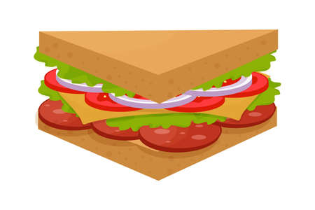 Tasty, delicious triangle sandwich, colorful and detailed isolated on white background. Salami, green leaves, tomato, cheese and onion ingredients. Vector illustration
