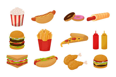 Set of fast food icon, objects. Colorful detailed collection of meal isolated on white background in cartoon flat style. Vector illustration