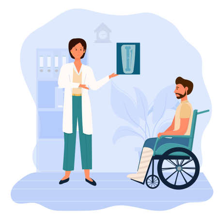 Doctor holding X-ray of broken leg isolated on white background. Sad, upset man stting in wheelchair. Treatment, recovery, orthopaedic and trauma concept in flat style. Vector illustration