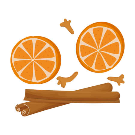 Set, decoration with cinnamon, carnation, round pieces of orange isolated on white background. Holiday, traditional spices, design element, group of objects. Vector illustration 矢量图像