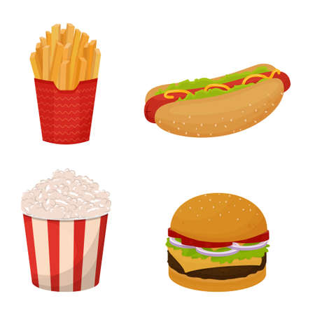 Set of detailed fast food. Collection of French fries, popcorn, hotdog, burger isolated on white background. . Vector illustration