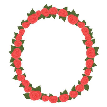 Bright romantic oval frame, border with roses isolated on white background. Valentine Day celebration design element, decoration. Vector illustration