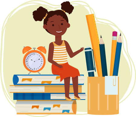 Cute, smiling Afro-American girl, kid sitting on stack of books isolated composition. Learning, studying concept stock. Vector illustration