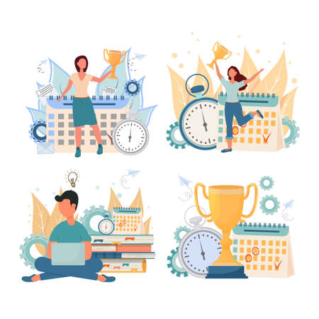 Collection of personal productivity, time management concept. Compositions with success, work results, optimization time. . Vector illustration