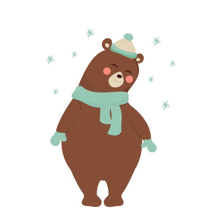 Cute shy bear full body, adorable character isolated on white background. Winter composition with snowflakes. Childish print, decoration, clip art. . Vector illustration