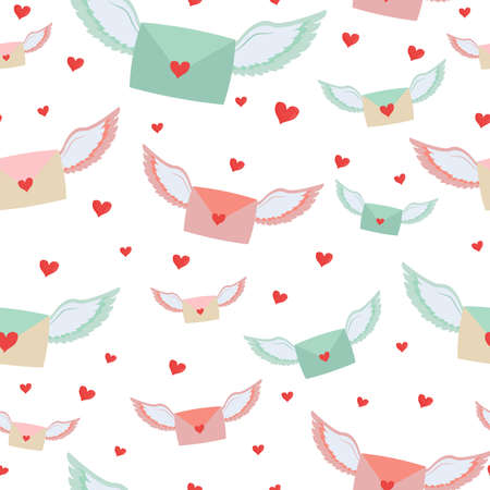 Letters with wings and hearts seamless pattern repeat cute background. Valentine Day celebration, romantic symbol, love massage. Fabric holiday design. Vector illustration