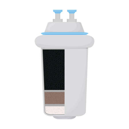 Carbon water filter system, structure, detailed design isolated on white background. Cartridge, product for filtration.