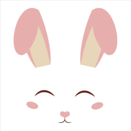 Cute, sweet bunny face with ears, decoration in cartoon style isolated on white background. Fashion print, adorable character rabbit. Easter greetings. Vector illustration