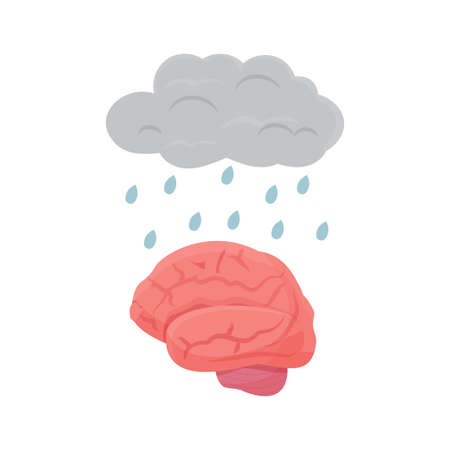 Metaphor cloud with rain drops and human brain organ isolated on white background. Stress, worry, trouble and mental health concept. Psychology symptoms symbol. Vector illustration