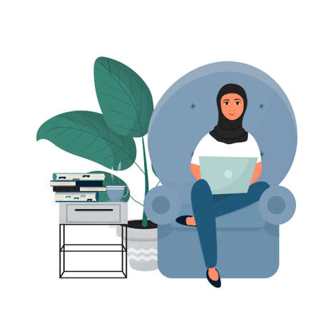 Attractive Arabian woman with hijab sitting and working with laptop. Freelance work, online education concept. Smiling female in interior isolated on white background. Vector illustration Illustration