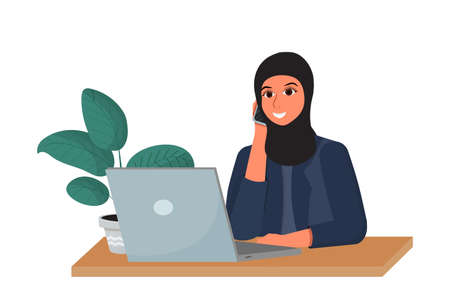 Arab woman in hijab on working place talking by phone and smiling isolated on white background stock vector illustration. Corporate employer, manager with laptop. . Vector illustration