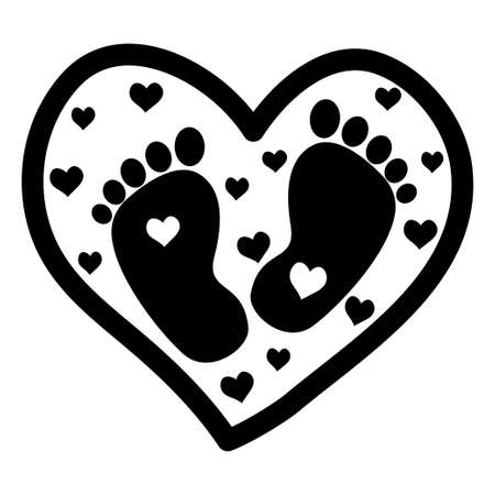 Cute baby footprint inside heart, print, decoration monochrome isolated on white background. Silhouette newborn foots, adorable symbol stock vector illustration. Vector illustration