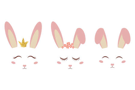 Set of cute pink bunny ears and faces, sleeping, smiling with decorations isolated on white background. Poster, print, fashion design element. Spring girlie design. Vector illustration