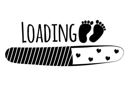 Loading with baby footprint and hearts, cute greeting with coming soon newborn for pregnant mother. Monochrome print, poster isolated on white background. Vector illustration